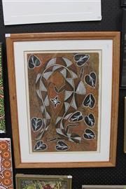 Sale 8288A - Lot 93 - Wesley Nganjmirra - Kinga Crocodile 60.5 x 40.5cm