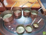 Sale 8428 - Lot 1093 - Set of Six Copper Saucepans