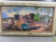 Sale 8522 - Lot 2083 - Sue Paton, Hale Street Brisbane, Mixed Media, 29x60cm -