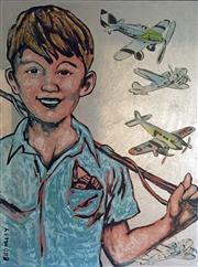 Sale 8567A - Lot 5001 - David Bromley (1960 - ) - The Aviator 120.5 x 90cm (frame size: 129 x 98.5cm)