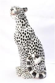 Sale 8710 - Lot 33 - Seated Ceramic Leopard