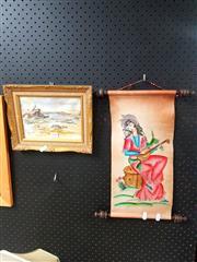 Sale 8695 - Lot 2090 - 2 Works: Scroll of Girl Plus Artist Unknown - Moon Island, wash, SLR