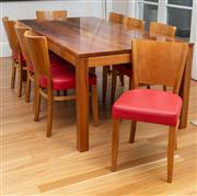 Sale 8741A - Lot 62 - A Thonet dining table made from Tasmanian black wood and eight red leather upholstered chairs in oak, measurements of table, H x75.5...