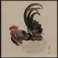 Sale 8934H - Lot 46 - Oriental School, Rooster and Hen, work on paper, artists monogram and seal lower right, frame size 61.5cm x 61.5cm