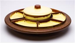 Sale 9170H - Lot 51 - A large timber lazy susan fitted with yellow and brown glazed ceramic compartments, Diameter 54cm