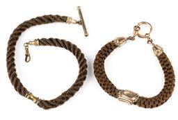 Sale 9190E - Lot 35 - A vintage hair lock choker and bracelet set