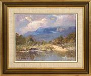 Sale 8443 - Lot 534 - Rubery Bennett (1893 - 1987) - Burragorang Crossing 28.9 x 36.5cm