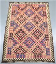 Sale 8438K - Lot 24 - Genuine Vintage Tribal Afghan Kilim Rug | 277x191cm, Pure Wool, Soft and colour mature genuine vintage Afghan Kyber Mori kilim handw...
