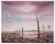 Sale 8506A - Lot 5020 - John Dynon (1954 - ) - Fence on Nine Mile via Broken Hill, 1983 40.5 x 50.5cm