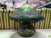 Sale 8629 - Lot 1031 - Bulbous Form Leadlight Table Lamp
