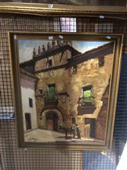 Sale 8824 - Lot 2066 - Painting of European Town Scene by Unknown Artist