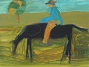 Sale 8867A - Lot 5071 - Artist Unknown - Man on Horse, 1963 31.5 x 36.5cm (framesize)
