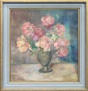 Sale 8964 - Lot 2027 - Erika Zichy Still Life - Pink Roses, c1960s oil on canvas, 55 x 51cm (frame) signed