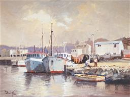 Sale 9116 - Lot 600 - Peter Krak Fishing Boats, Portland Victoria oil on board 29 x 39.5 cm (frame: frame: 49 x 58 x 3 cm) signed lower left