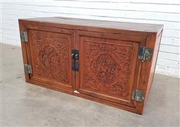 Sale 9129 - Lot 1057 - Oriental carved two door cabinet(h61 x w117 x d61cm)