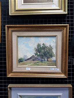 Sale 9127 - Lot 2025 - Rhys Williams  Country Cottage, oil on canvas on board, frame: 32 x 38 cm, signed lower right