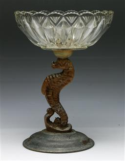 Sale 9144 - Lot 19 - Cut glass comport on cast metal seahorse base (H:30cm)