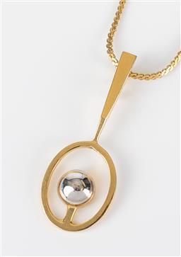 Sale 9250F - Lot 89 - A Pierre Cardin vintage 1970s modernist pendant necklace, pendant length, 5cm.