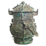 Sale 8292 - Lot 3 - Archaic Bronze Wine Vessel & Cover