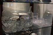 Sale 8306 - Lot 96 - Cut Crystal Decanter with Crystal & Silver Plate incl. Trays