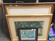Sale 8413T - Lot 2045 - Group of three assorted artworks including, original pastel and two decorative prints