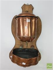 Sale 8439F - Lot 1838 - 19th Century Copper Wall Mounted Water Fountain (H 30cm x W 22cm)