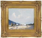 Sale 8443 - Lot 557 - Rubery Bennett (1893 - 1987) - Untitled (Pastoral Australian Landscape) 24.4 x 29.5cm
