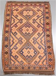 Sale 8438K - Lot 25 - Genuine Vintage Tribal Afghan Kilim Rug | 301x186cm, Pure Wool, Soft and colour mature genuine vintage Afghan Kyber Mori kilim handw...