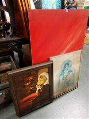 Sale 8682 - Lot 2097 - 3 Works: Siljanovski - Still Life, oil on board, SUR; unframed work by Donnell - Power Poles, acrylic on board, SLR & a Vintage Sign