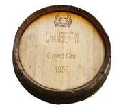 Sale 8828B - Lot 59 - A early French Grand Cru oak wine barrel end by Chambertin, 1958. Diameter 60cm