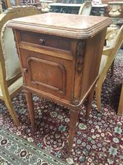 Sale 8917 - Lot 1015 - French Art Deco Walnut Bedside Cabinet, with marble top, a drawer, panel door & turned legs