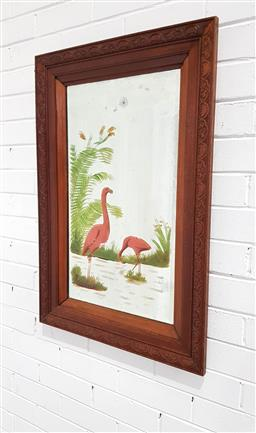 Sale 9121 - Lot 1089 - Art Deco bevelled edge mirror in pressed oak frame with hand painted flamingos (h:87 x w:56cm)