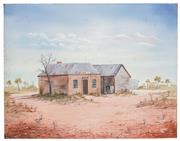 Sale 8506A - Lot 5021 - John Dynon (1954 - ) - Old Cobb & Co Post Office via the Hill, 1986 40.5 x 50.5cm