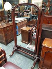 Sale 8868 - Lot 1133 - Victorian Mahogany Cheval Mirror, with arched mirror & turned supports with stretcher