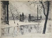 Sale 8914 - Lot 2037 - Szonyi Istvan (1894 - 1960) City Square hand-coloured etching, 29x38cm, signed -