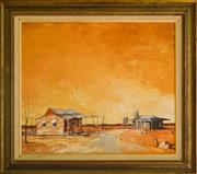 Sale 9080J - Lot 46 - Ric Elliot - Outback Town 60x70cm