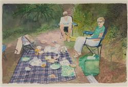 Sale 9096A - Lot 5032 - Michelle Ussher (1975 - ) - Picnic, 2005 18 x 28 cm (frame: 40 x 48 cm )