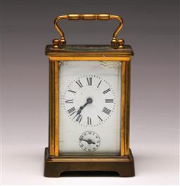 Sale 9122 - Lot 35 - A Brass Carriage Clock (H:12cm)