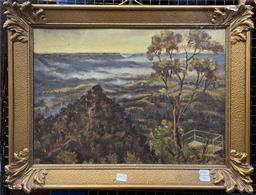 Sale 9111 - Lot 2005 - Charles Vivian The Lookout, Blue Mountains 1930 oil on board, 45 x 60cm, signed -