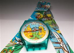 Sale 9131 - Lot 41 - Swatch watch wall clock (L:190cm)