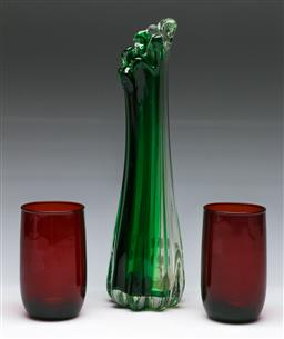 Sale 9148 - Lot 66 - An art glass vase together with a pair of ruby cups (measurement)