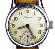 Sale 8402W - Lot 20 - MINERVA WWII ERA WRISTWATCH; with Arabic numerals, subsidiary seconds on a 15 jewell movement, stainless steel screw back case no. 6...