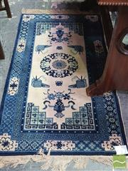 Sale 8444 - Lot 1051 - Chinese Blue & Cream Wool Carpet, with central medallion & depicting artists utensils