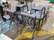 Sale 8601 - Lot 1231 - Nine Piece Metal Outdoor Setting incl. Glass Top Table, Six Chairs & Two Foot Stools