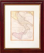 Sale 8625A - Lot 18 - Map after J Cary of southern Italy; The Kingdom of Naples & Sicily, publisher; Alexander Hogg 5th April 1784, in a timber frame, fra...