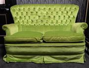 Sale 8761A - Lot 40 - A pistachio velvet buttonback two seater wingback sofa, Height of back - 90cm, W x 143cm, D x 58cm