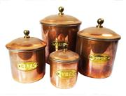 Sale 8828B - Lot 61 - French Art Deco Set Of 4 graduated sized copper Kitchen Canisters. Height range 8 - 14 cm