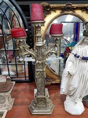 Sale 8925 - Lot 1066 - A carved and gilt three branch candelabrum