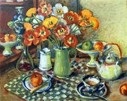 Sale 9091A - Lot 5007 - Margaret Olley (1923 - 2011) - Poppies and Checked Cloth, 2008 79 x 107.5 cm