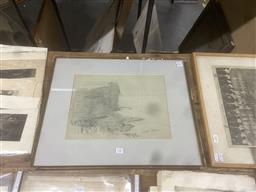 Sale 9111 - Lot 2082 - Donald Gregor Commons (1855 - 1942) Coastal Cliff, 1912 pencil drawing 45 x 56cm, initialled and dated lower left -